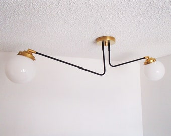 Twin Arm Globe Shaded Flush Mount Ceiling Light Atomic Modern Orb UL Listed