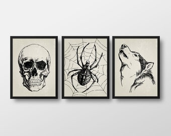 Set of 3 Scary Halloween Prints - Halloween Decor - Art Prints - Halloween Printables - Instant Download - 8x10 in. Skull, Spider and Wolf