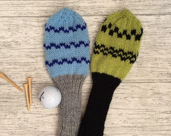 Golf headcover, Golf club head cover set, knit headcovers, golf head covers, golf woods set,
