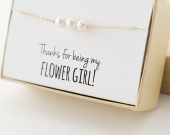 Flower Girl Gift - Flower Girl Bracelet - Thanks for being my flower girl - White Freshwater Pearl Gold Bracelet - Real Pearl Bracelet