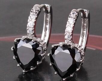 14 kt white gold ep heart cut lever back created black diamond earrings 3 ct