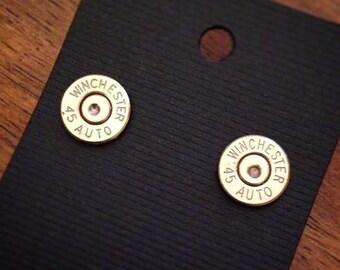 Winchester 45 Auto Bullet Brass Stud Earrings Low Profile
