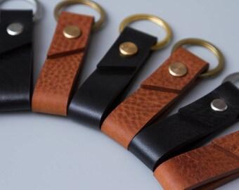 Leather Key Fob, Chestnut leather key fob, black leather key fob, Hand Crafted in London, leather keychain, Free UK Shipping