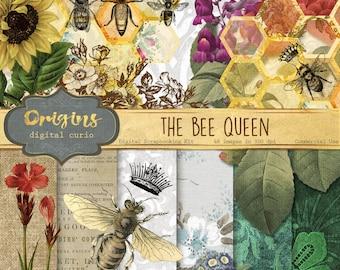 Bee Queen Digital Scrapbook Kit, vintage crown honey bee illustrations, digital backgrounds, honeycomb beehive, vintage flowers download