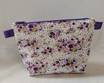 Purple Floral Zippered Bag