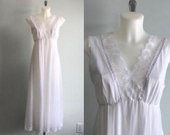 White Chiffon Nightgown, 1960s Nightgown, Tosca, Romantic, Wedding, Bridal, Vintage Nightgown, White Chiffon Nightgown
