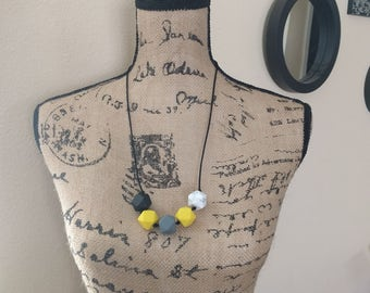 Yellow, Gray, Black and Marble Teething/Sensory/Nursing Necklace