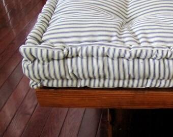 Custom Bench Cushion, Ticking Stripe Window Seat Cushion, French Mattress Quilted Cushion. Tufted Cushions, Custom Sized Cushion