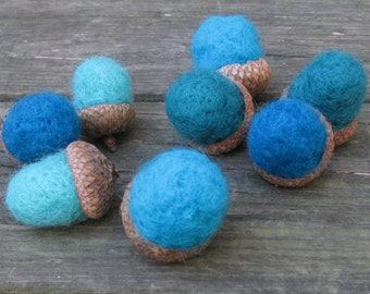 Teal Needle Felted Acorns