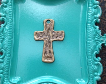 6 Pieces Hammered Cross Rustic Cross Charm Antique Bronze Finush 45x30 mm, cross charms, 25-17-B