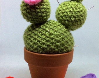 Knitted cactus, Choose your own flowers Cactus pincushion, knitted cactus pincushion, CACTUS, PINCUSHION, knitted plant in pot, potted cactu