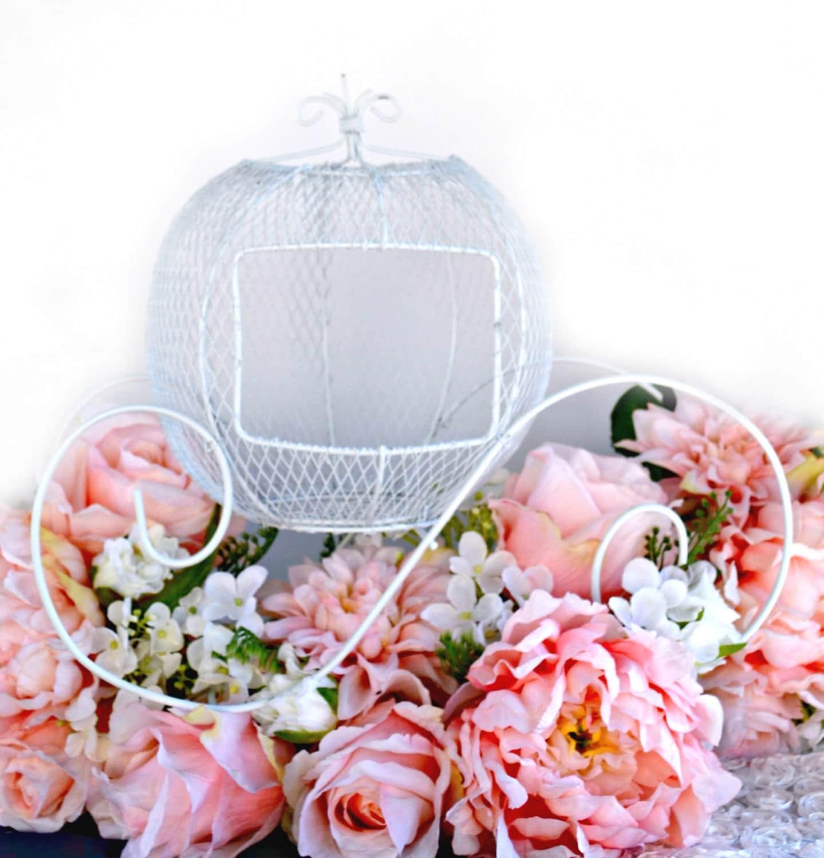 Wire Cinderella Carriage/ White Wedding Centerpiece/Princess