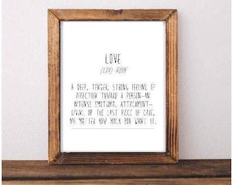 Love Definition Printable