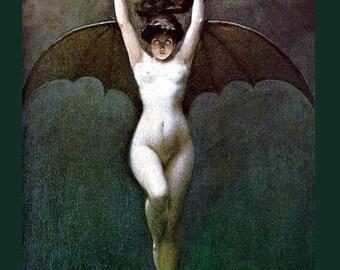 Nude Bat Girl - Blood of the Vampire - Albert Joseph Pénot ~ Art Nouveau Nude ~ Goth Art ~ Macabre Art ~ Nude ~ Female Form ~ Nude Vampire