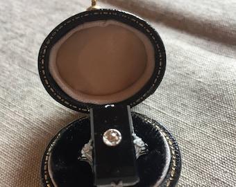Antique Black Onyx Ring with Center Diamond