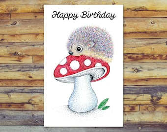Printable Birthday Card, Hedgehog Card, Printable Greeting Cards, Digital Download Card, Happy Birthday Card, Instant Download, Hedgehog Art
