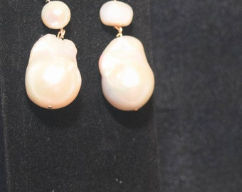 Beautiful and big, important earrings of baroque pearls and gold.  NOT ON SPECIAL!