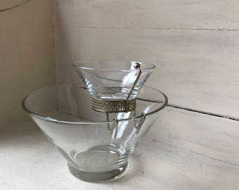 Mid Century Modern Chip and Dip   Clear Glass Chip and Dip Bowl Set   Vintage Snack Bowls   Retro Partyware Serving   Entertaining   Mad Men