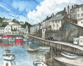 Summer Mevagissey Harbor watercolor painting, ORIGINAL painting, Cornish harbor, English holiday memory, happy home decor