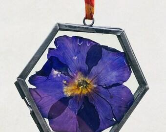 Handmade Purple Flower Suncatcher /Glass Frame