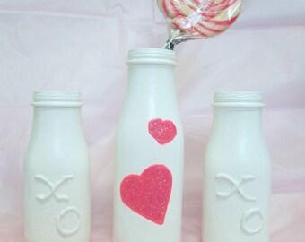 Milk bottles. Pink hearts.  Decorated bottles. Centerpieces