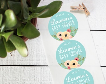 Floral Favor Labels - Baby Shower Favor Labels - Round - Sophie Label Design | Bridal Shower Labels | Floral Mason Jar Labels - ANY OCCASION