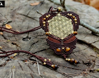 Sacred geometry macrame necklace seed of life macrame flower of life macrame pendant tiger eye pendant sacred geometry pendant meditation necklace aloadofball Gallery