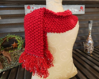 Hand Knit Scarf  Red Scarf