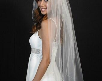 "Wedding veil fingertip length 42"" long with pencil edging."