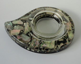 1974 Abalone/Resin/Glass Ashtray. Made in USA
