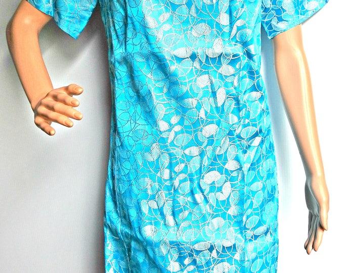 Royal blue metallic Turtleneck dress