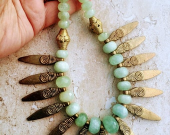Aquamarine Necklace, Ethnic Necklace, Tribal Fusion Folk Art Gold Necklace, Statement Necklace, Charm Necklace African Necklace Gift For Mom