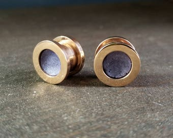 11mm / 7/16in Clay-Packed Rose Gold Steel and Purple Ear Plugs
