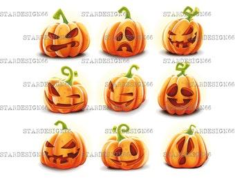 Digital EPS PNG JPG Pumpkins Halloween, pumpkins faces, vector, clipart, instant download