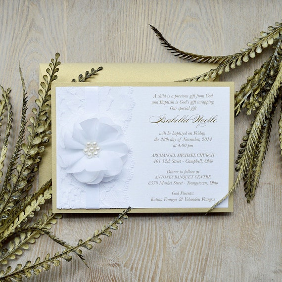 ISABELLA - White and Gold Lace Baptism Invitation - Christening Invite with White Lace and White Chiffon Flower - Custom Colors