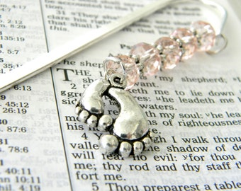 Footprint Bookmark with Light Pink Glass Beads Shepherd Hook Silver Bookmark Baby Bookmark