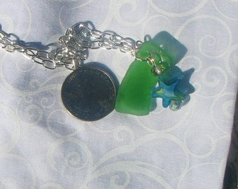 green sea glass and starfish necklace.