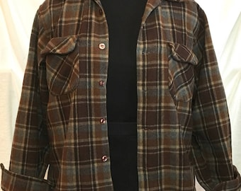 Vintage Pendleton 49er Shirt Jacket, Wool Plaid in Browns and Grays, Marked L, Chest 40 Inches, Washed and Pre-Worn, 60s style Label