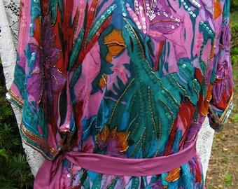 80s prom dress, plus size 1980s Flapper dress SEQUIN Spring SILK dress Plus size sequin dress Cocktail Party dress Formal dress, 1980s 80s