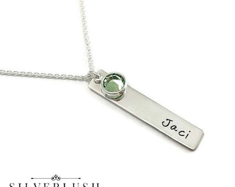 Sterling Silver Hand Stamped Tag necklace with Swarovski crystal birthstone