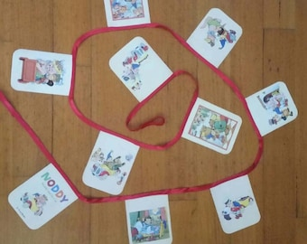 Large Noddy Handmade Paper Garlands/For Baby Nursery/Children's Bedrooms/Birthdays/Mid Century Home/Retro/Funky Home/Great Presents.