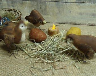 Primitive Easter Chicks/Brown chicks/Easter peeps/Primitive Spring Chicks/Primitive easter/Handmade Easter/handmade Primitives/chick ornies/