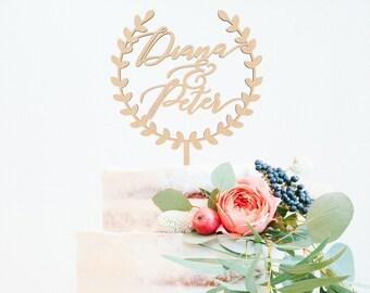 Custom Wedding Cake Topper, Personalized Cake Topper, Laurel Cake Topper,  Wreath Cake Topper, Engagement Cake Topper, Wood Cake Topper
