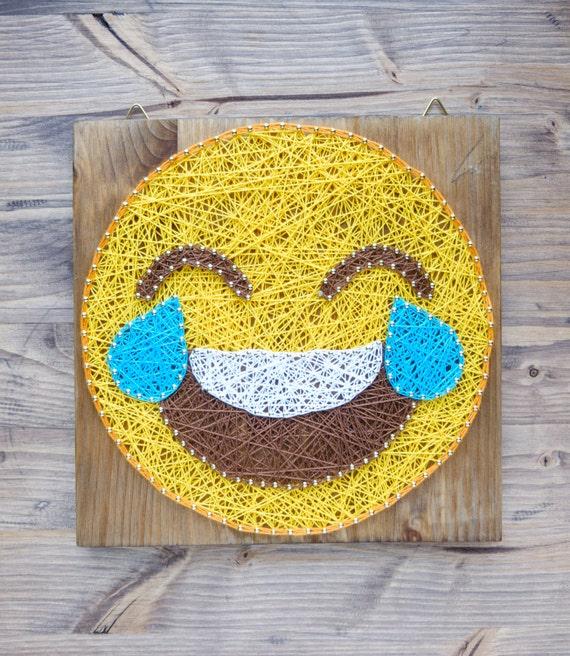 Modern Emoji String Art Wall Decor tears of joy yellow emoji