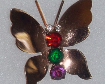 Vintage Coro CoroCraft Sterling Silver and Rhinestone Butterfly Brooch