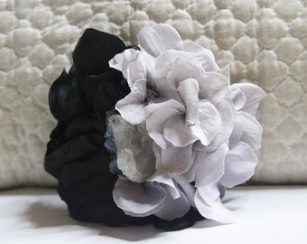 Onyx and Ice Hydrangea Hair Flower with Quartz Crystal