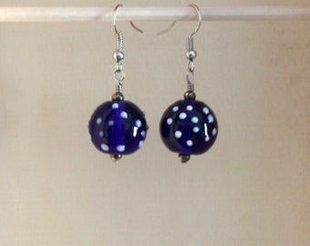 Blue Lampwork Earrings, Navy Blue Earrings