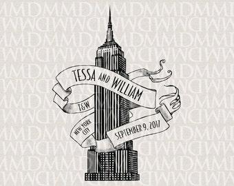 Empire State Building New York Custom City Wedding Monogram - Wedding Logo - Wedding Crest