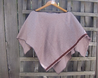 Cottage Chic Prairie Girl Upcycled Wool Blend Poncho Cape Shawl Cover Up/Mocha Brown Asymmetrical Eco Hippie Throw Capelet One Size