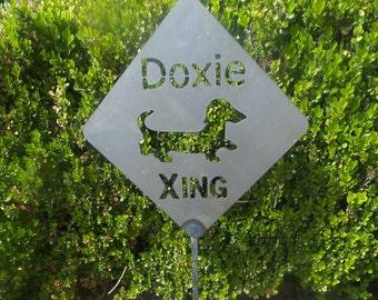Doxie  Dachshund Crossing Xing Metal  Yard Art Sign